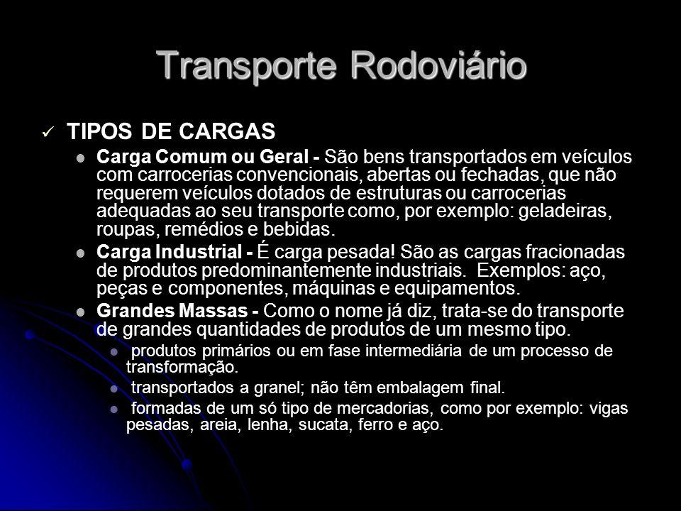 Transporte Rodoviário TIPOS DE CARGAS Carga Comum ou Geral - São bens transportados em veículos com carrocerias convencionais, abertas ou fechadas, qu