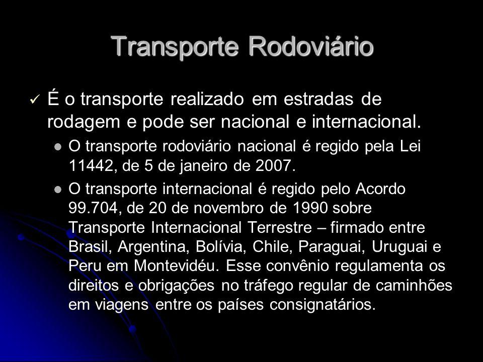 Transporte Rodoviário É o transporte realizado em estradas de rodagem e pode ser nacional e internacional. O transporte rodoviário nacional é regido p