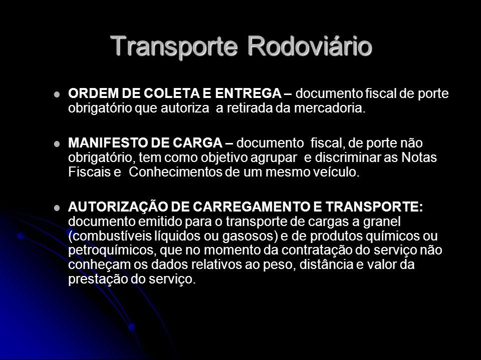 Transporte Rodoviário ORDEM DE COLETA E ENTREGA – documento fiscal de porte obrigatório que autoriza a retirada da mercadoria. MANIFESTO DE CARGA – do