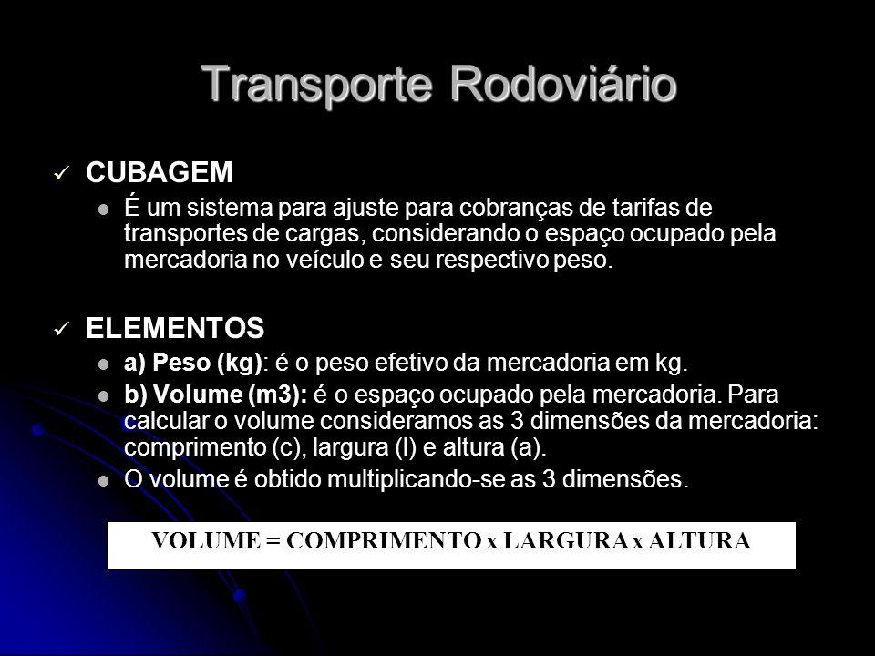 Transporte Rodoviário CUBAGEM É um sistema para ajuste para cobranças de tarifas de transportes de cargas, considerando o espaço ocupado pela mercador