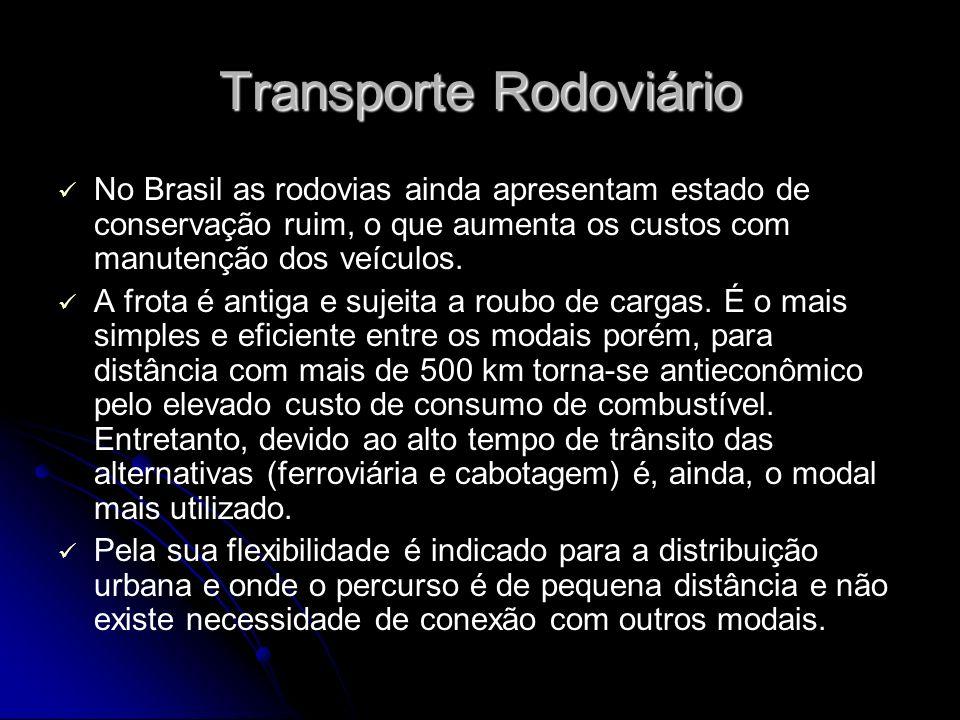 Transporte Rodoviário No Brasil as rodovias ainda apresentam estado de conservação ruim, o que aumenta os custos com manutenção dos veículos. A frota