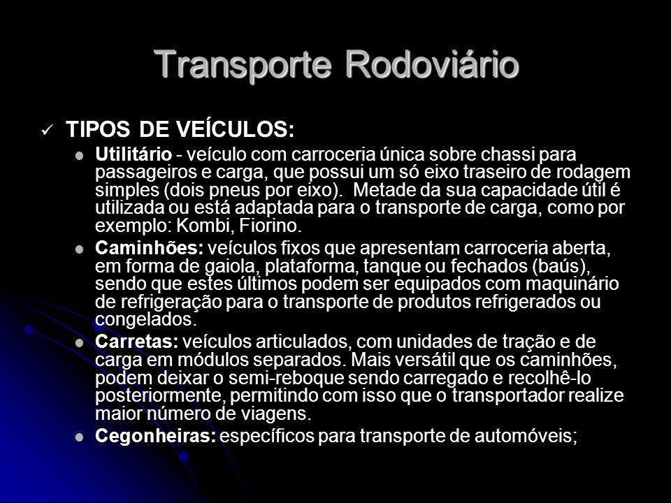 Transporte Rodoviário TIPOS DE VEÍCULOS: Utilitário - veículo com carroceria única sobre chassi para passageiros e carga, que possui um só eixo trasei