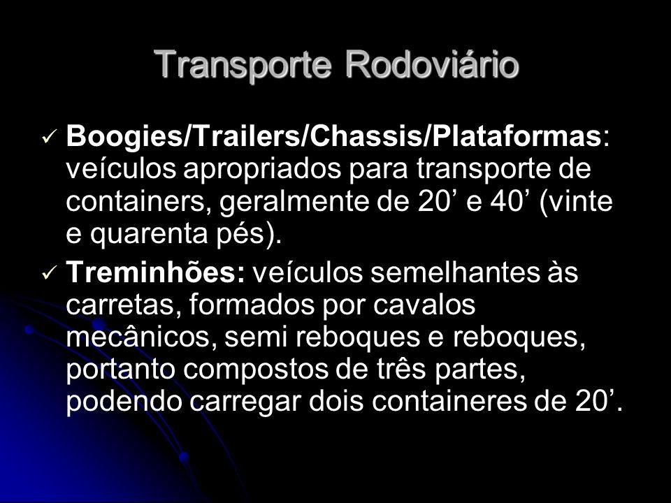 Transporte Rodoviário Boogies/Trailers/Chassis/Plataformas: veículos apropriados para transporte de containers, geralmente de 20 e 40 (vinte e quarent