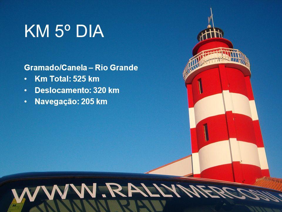 KM 5º DIA Gramado/Canela – Rio Grande Km Total: 525 km Deslocamento: 320 km Navegação: 205 km