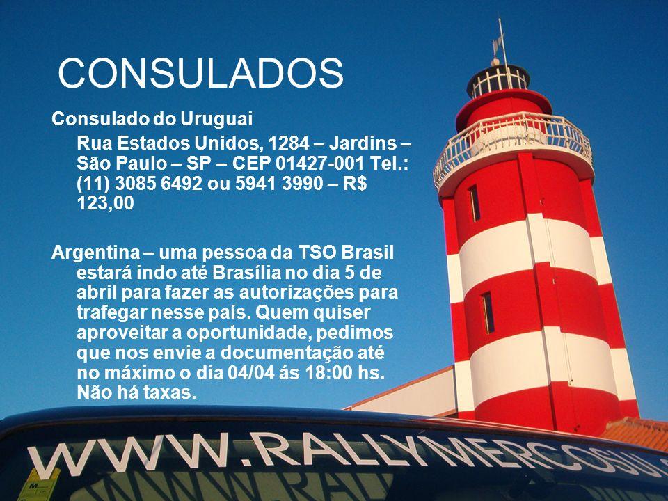 CONSULADOS Consulado do Uruguai Rua Estados Unidos, 1284 – Jardins – São Paulo – SP – CEP 01427-001 Tel.: (11) 3085 6492 ou 5941 3990 – R$ 123,00 Arge