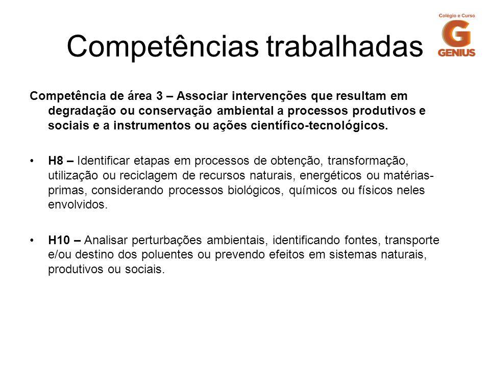 Competências trabalhadas Competência de área 3 – Associar intervenções que resultam em degradação ou conservação ambiental a processos produtivos e so