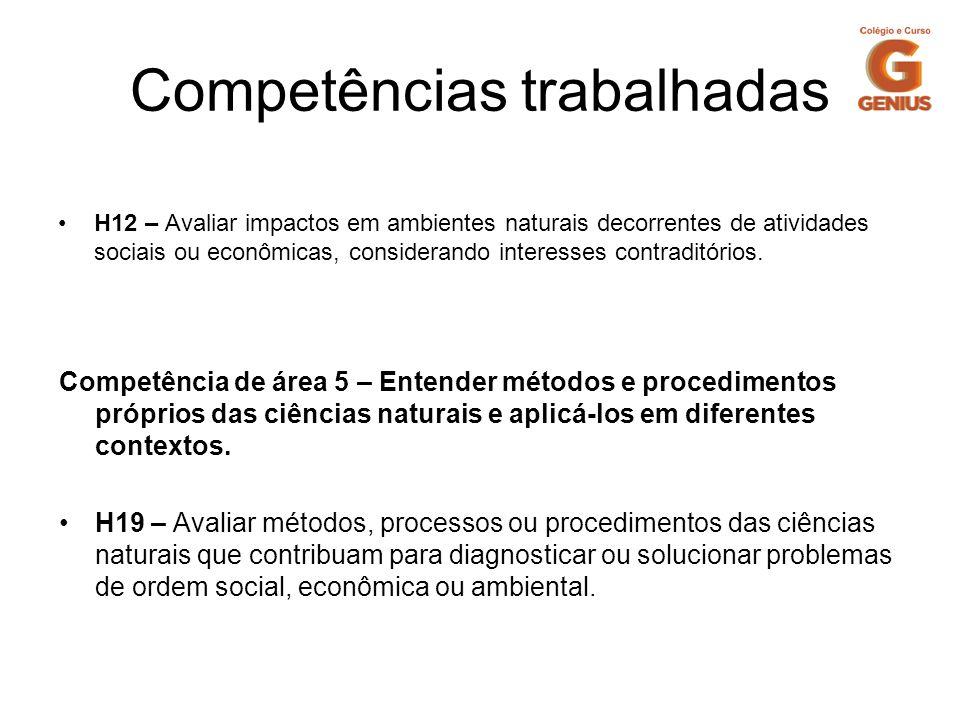 Competências trabalhadas H12 – Avaliar impactos em ambientes naturais decorrentes de atividades sociais ou econômicas, considerando interesses contrad