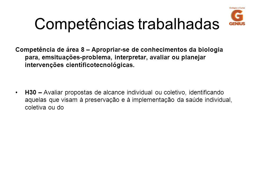 Competências trabalhadas Competência de área 8 – Apropriar-se de conhecimentos da biologia para, emsituações-problema, interpretar, avaliar ou planeja