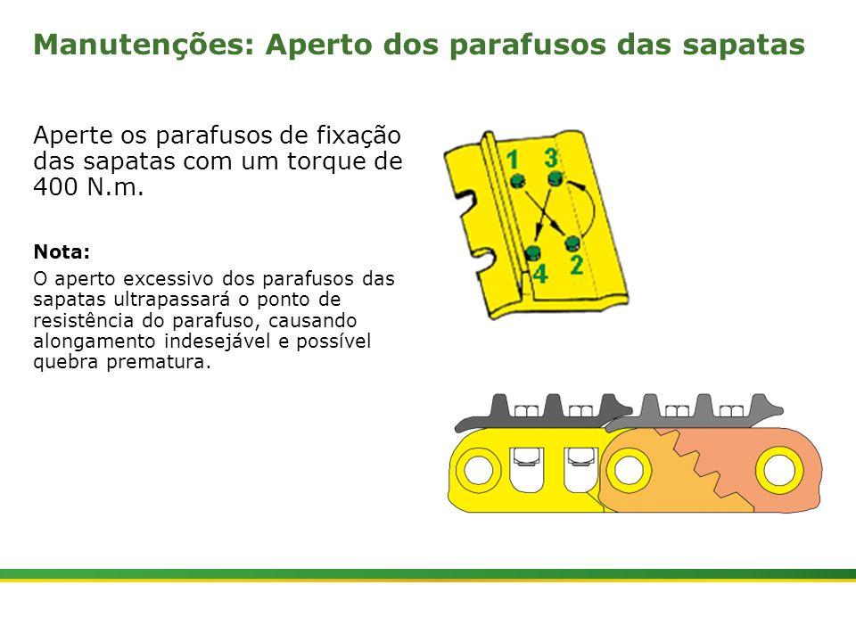 |Colhedora de Cana 3520 & 3522 : Material Rodante | Janeiro, 201013 Manutenções: Aperto dos parafusos das sapatas Aperte os parafusos de fixação das s