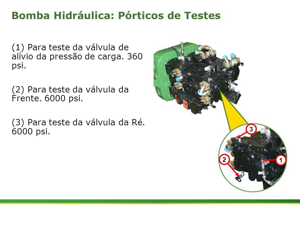 |Colhedora de Cana 3520 & 3522 : Material Rodante | Janeiro, 201019 Bomba Hidráulica: Pórticos de Testes (1) Para teste da válvula de alívio da pressã
