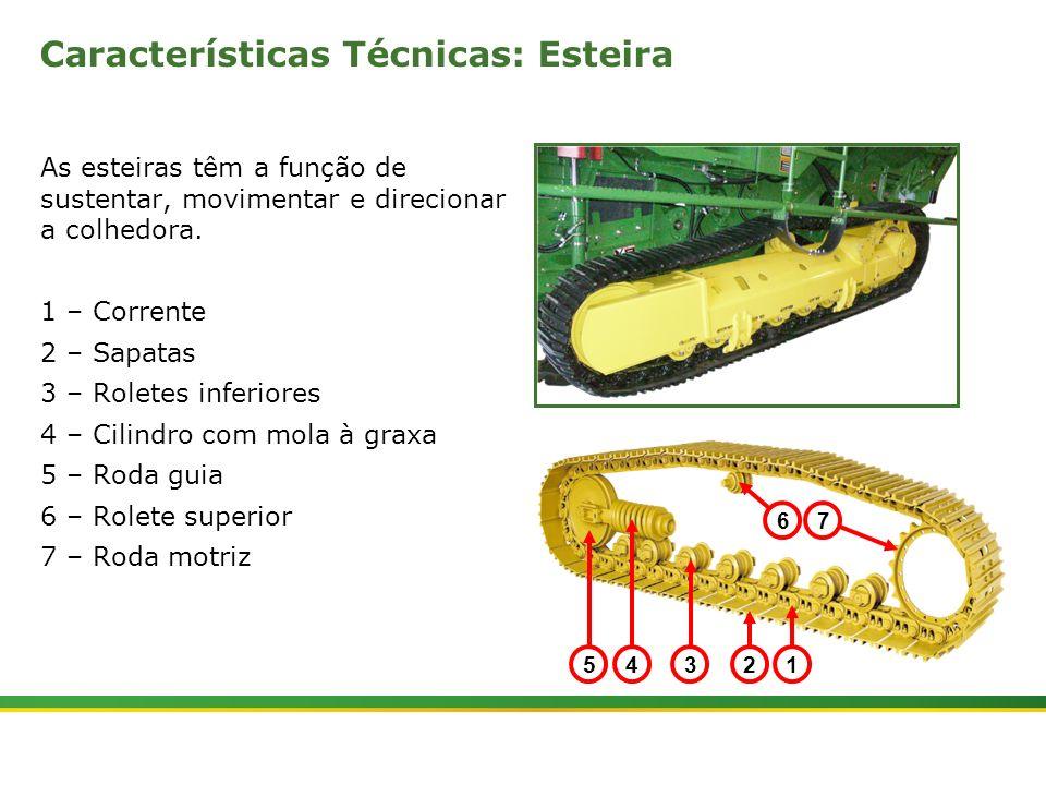 |Colhedora de Cana 3520 & 3522 : Material Rodante | Janeiro, 20102 Características Técnicas: Esteira As esteiras têm a função de sustentar, movimentar