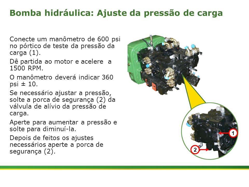 |Colhedora de Cana 3520 & 3522 : Material Rodante | Janeiro, 201021 Bomba hidráulica: Ajuste da pressão de carga Conecte um manômetro de 600 psi no pó