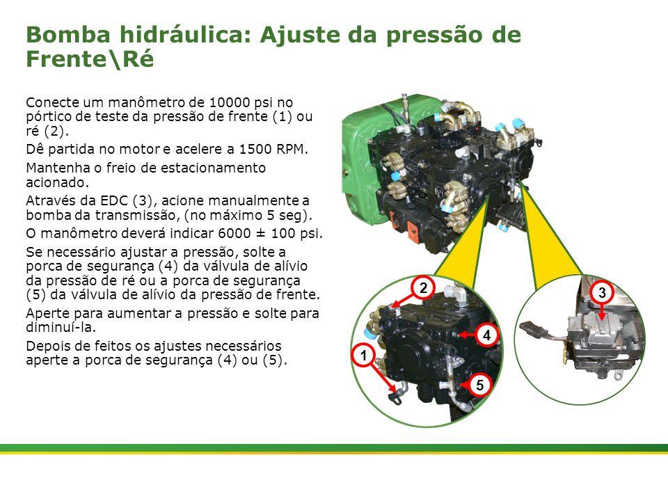 |Colhedora de Cana 3520 & 3522 : Material Rodante | Janeiro, 201022 Bomba hidráulica: Ajuste da pressão de Frente\Ré Conecte um manômetro de 10000 psi