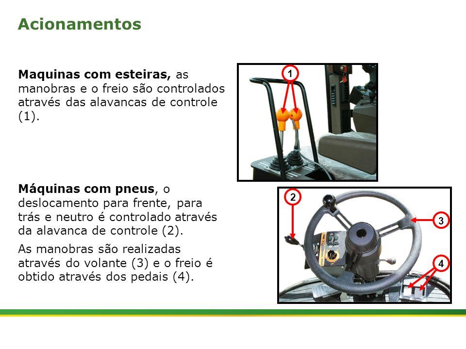 |Colhedora de Cana 3520 & 3522 : Material Rodante | Janeiro, 20109 Acionamentos Maquinas com esteiras, as manobras e o freio são controlados através d