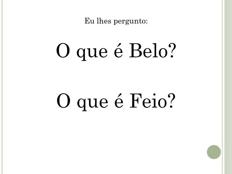 Eu lhes pergunto: O que é Belo? O que é Feio?