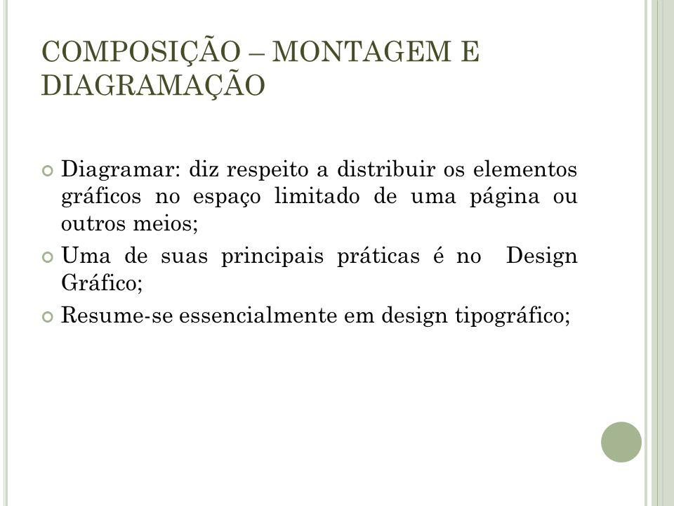 COMPOSIÇÃO – MONTAGEM E DIAGRAMAÇÃO Diagramar: diz respeito a distribuir os elementos gráficos no espaço limitado de uma página ou outros meios; Uma d