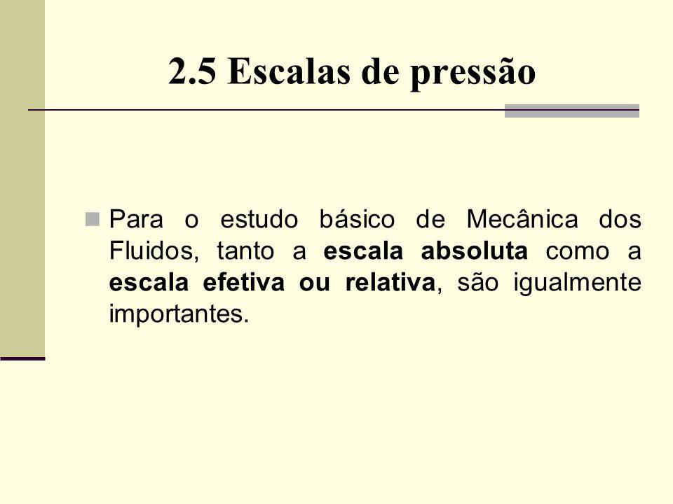 2.5 Escalas de pressão Para o estudo básico de Mecânica dos Fluidos, tanto a escala absoluta como a escala efetiva ou relativa, são igualmente importantes.