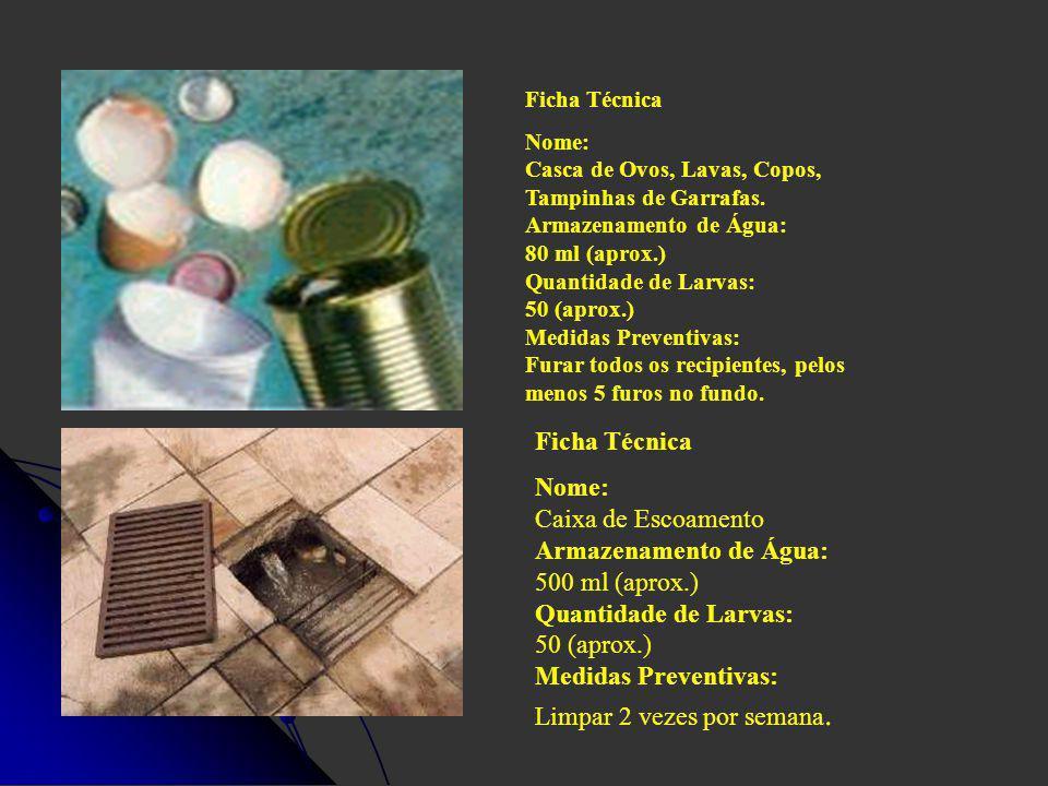 Ficha Técnica Nome: Casca de Ovos, Lavas, Copos, Tampinhas de Garrafas. Armazenamento de Água: 80 ml (aprox.) Quantidade de Larvas: 50 (aprox.) Medida