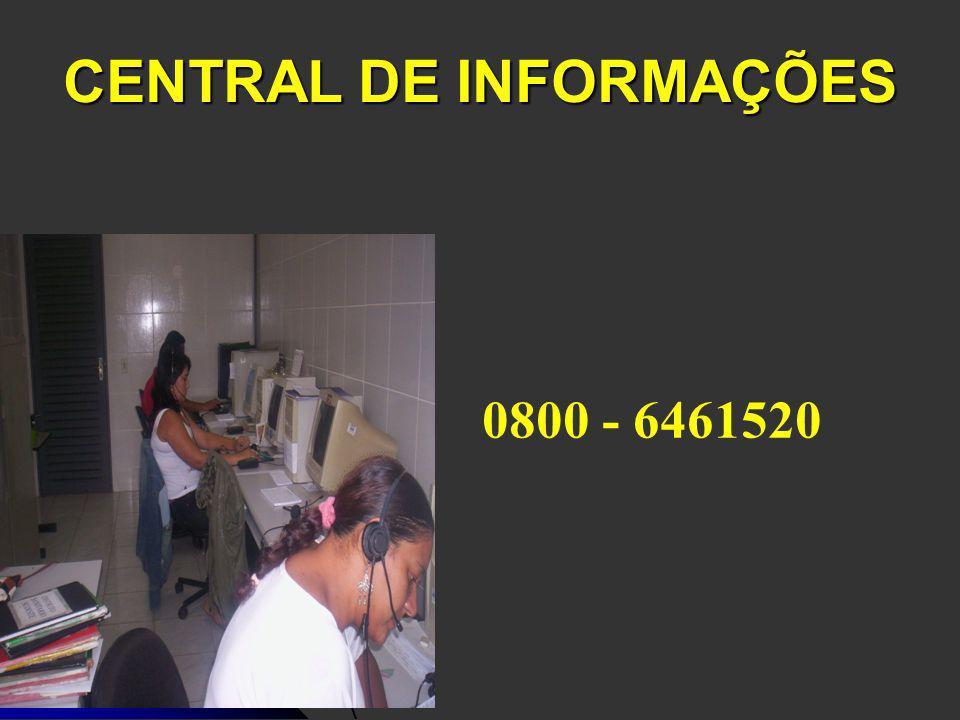 CENTRAL DE INFORMAÇÕES 0800 - 6461520