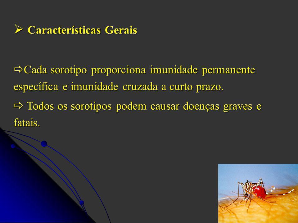 Características Gerais Características Gerais Cada sorotipo proporciona imunidade permanente específica e imunidade cruzada a curto prazo.