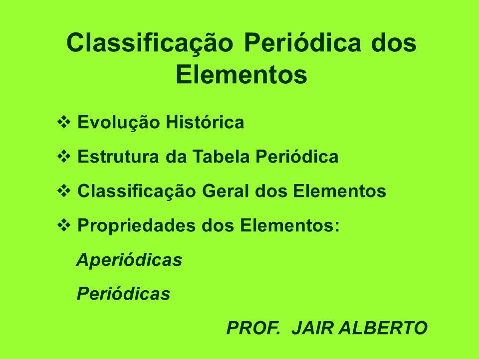 Classificação Periódica dos Elementos Evolução Histórica Estrutura da Tabela Periódica Classificação Geral dos Elementos Propriedades dos Elementos: Aperiódicas Periódicas PROF.