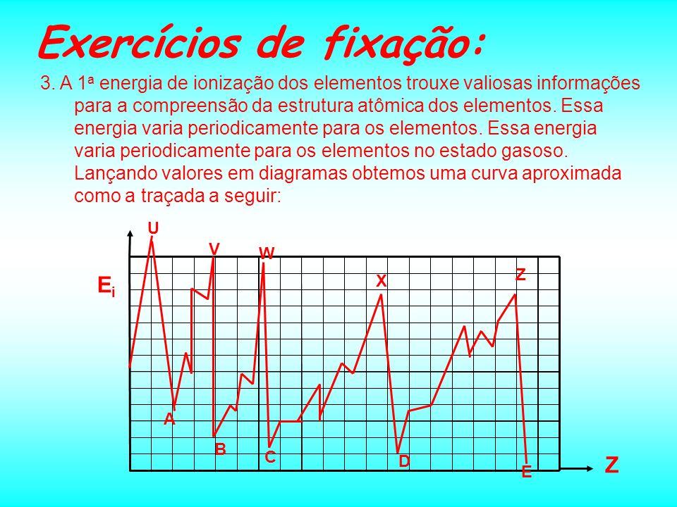 Exercícios de fixação: 3. A 1 a energia de ionização dos elementos trouxe valiosas informações para a compreensão da estrutura atômica dos elementos.