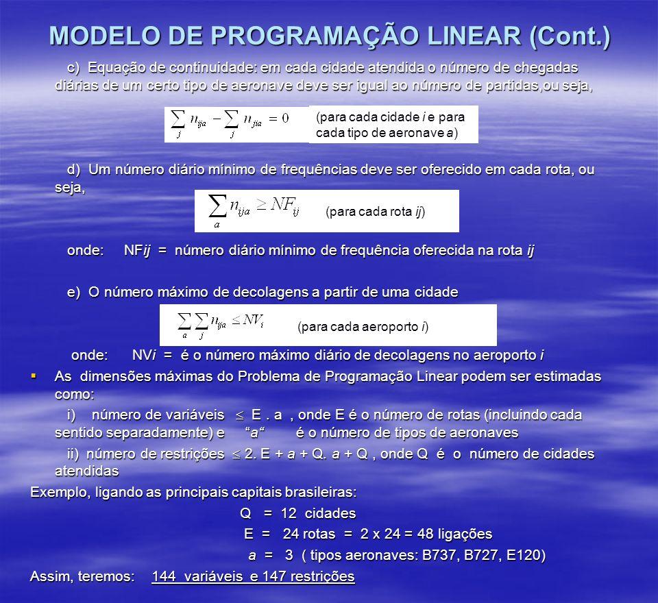 MODELO DE PROGRAMAÇÃO LINEAR (Cont.) c) Equação de continuidade: em cada cidade atendida o número de chegadas diárias de um certo tipo de aeronave dev