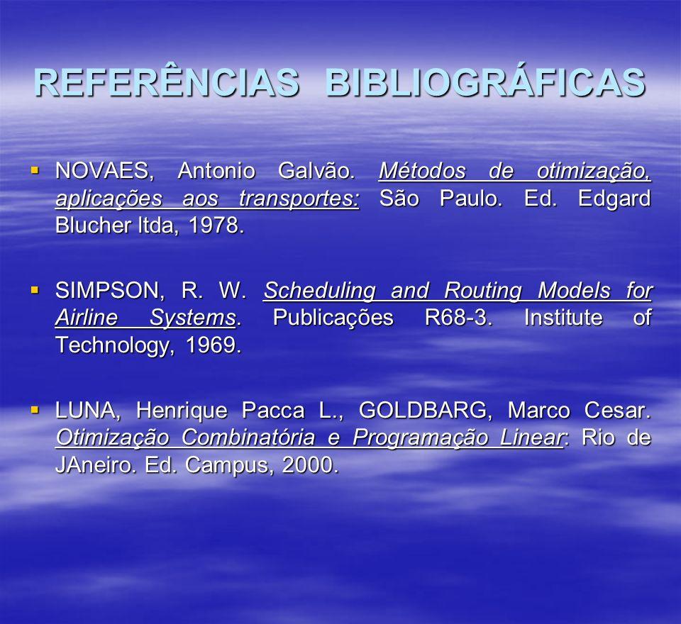 REFERÊNCIAS BIBLIOGRÁFICAS NOVAES, Antonio Galvão. Métodos de otimização, aplicações aos transportes: São Paulo. Ed. Edgard Blucher ltda, 1978. NOVAES