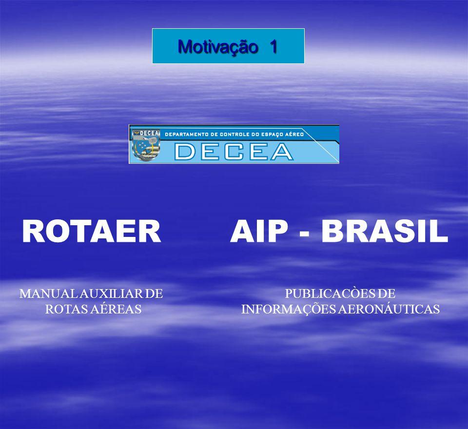 ROTAER MANUAL AUXILIAR DE ROTAS AÉREAS AIP - BRASIL PUBLICACÒES DE INFORMAÇÕES AERONÁUTICAS Motivação 1