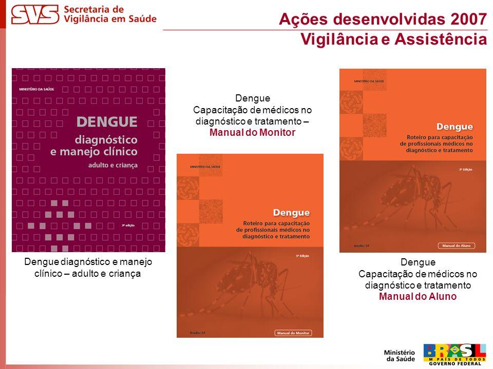 Dengue diagnóstico e manejo clínico – adulto e criança Dengue Capacitação de médicos no diagnóstico e tratamento – Manual do Monitor Dengue Capacitação de médicos no diagnóstico e tratamento Manual do Aluno Ações desenvolvidas 2007 Vigilância e Assistência