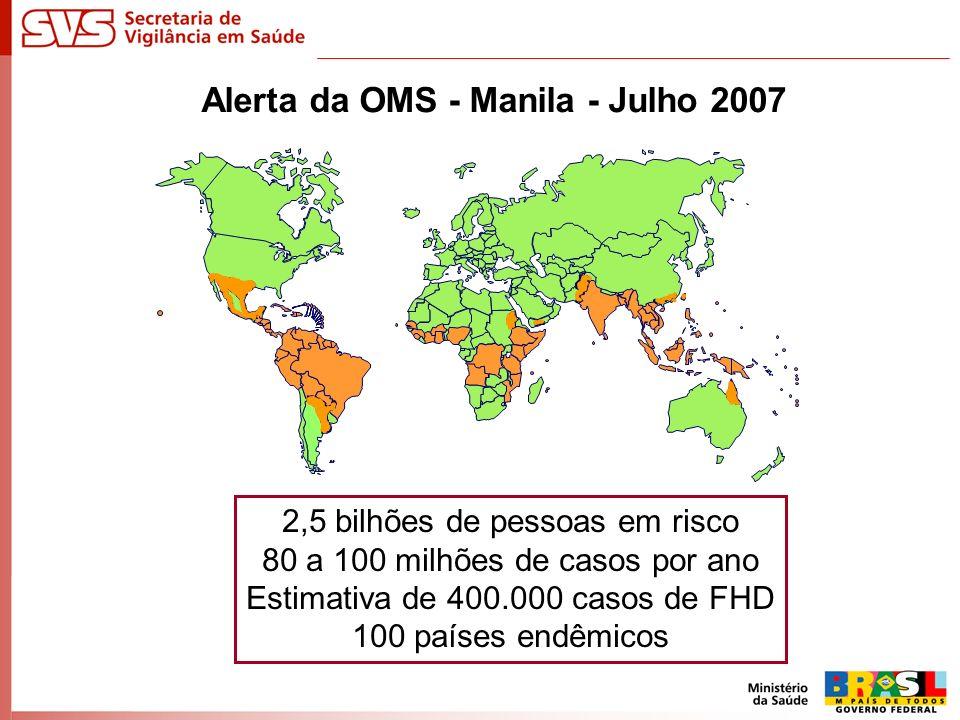 Alerta da OMS - Manila - Julho 2007 2,5 bilhões de pessoas em risco 80 a 100 milhões de casos por ano Estimativa de 400.000 casos de FHD 100 países en