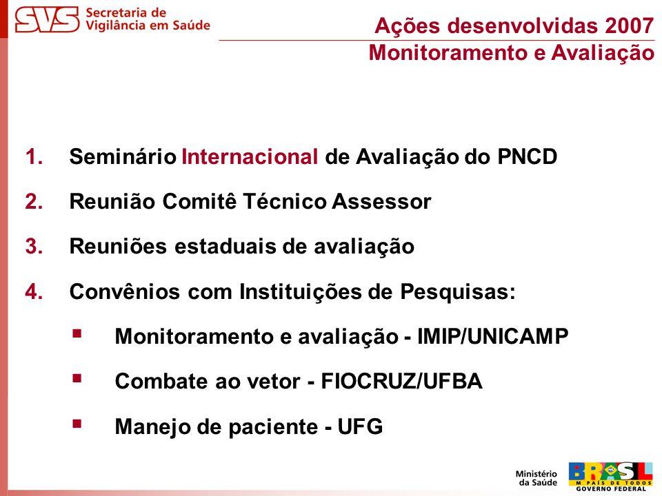 1.Seminário Internacional de Avaliação do PNCD 2.Reunião Comitê Técnico Assessor 3.Reuniões estaduais de avaliação 4.Convênios com Instituições de Pesquisas: Monitoramento e avaliação - IMIP/UNICAMP Combate ao vetor - FIOCRUZ/UFBA Manejo de paciente - UFG Ações desenvolvidas 2007 Monitoramento e Avaliação