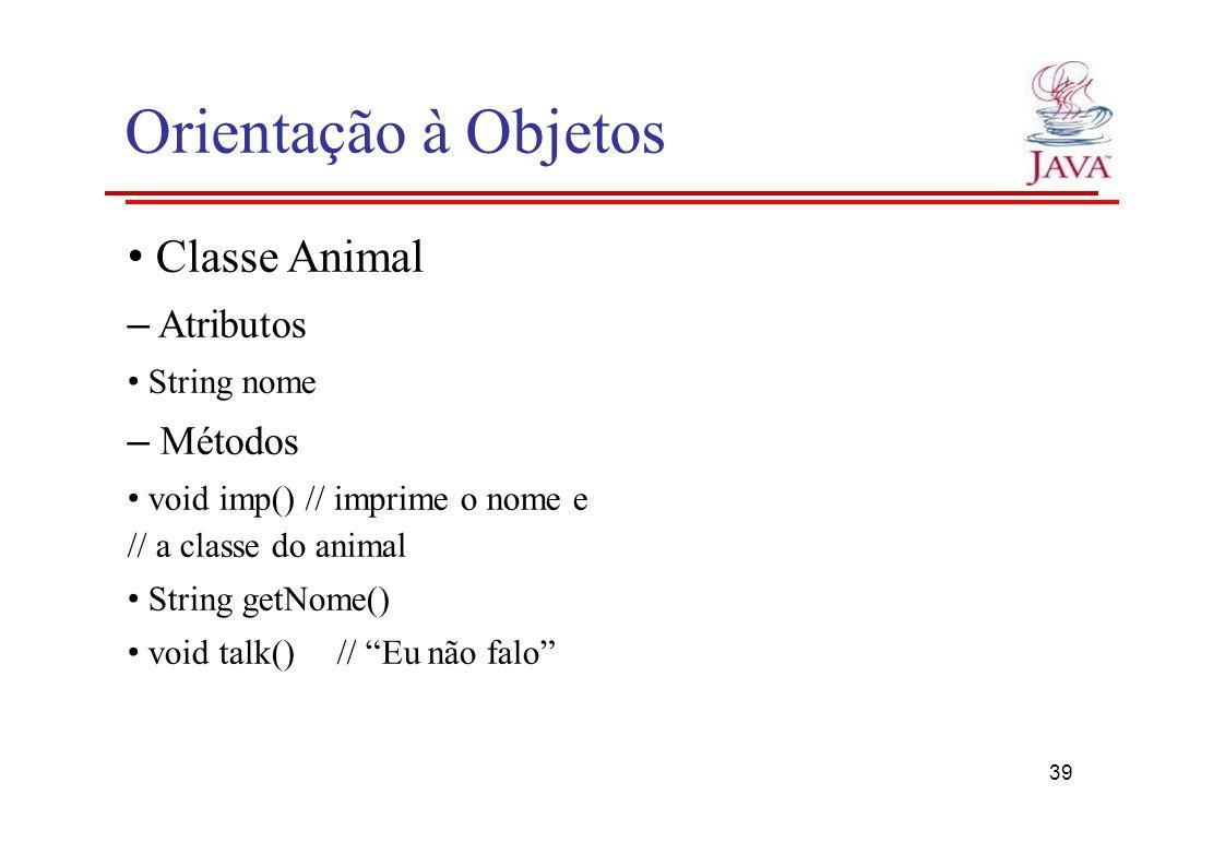 Orientação à Objetos Classe Animal – Atributos String nome – Métodos void imp() // imprime o nome e // a classe do animal String getNome() void talk()