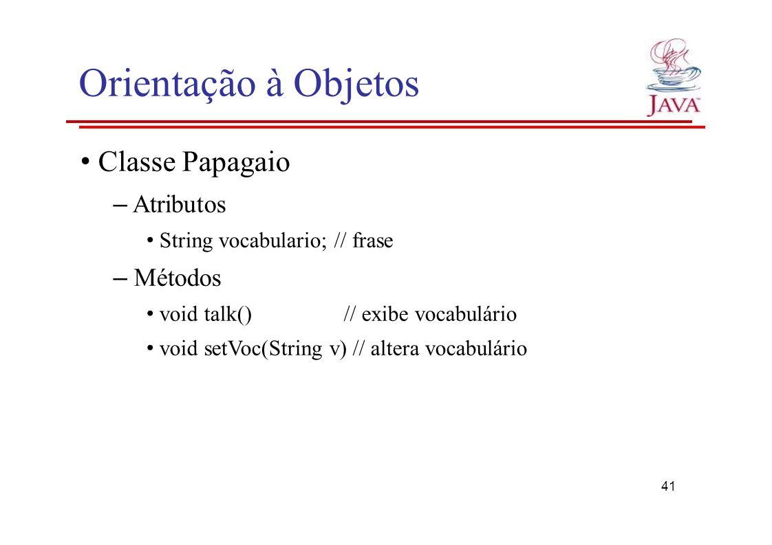 Orientação à Objetos Classe Papagaio – Atributos String vocabulario; // frase – Métodos void talk()// exibe vocabulário void setVoc(String v) // alter
