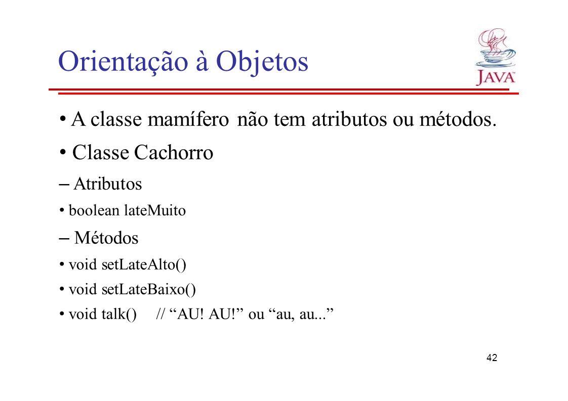 Orientação à Objetos A classe mamífero não tem atributos ou métodos. Classe Cachorro – Atributos boolean lateMuito – Métodos void setLateAlto() void s