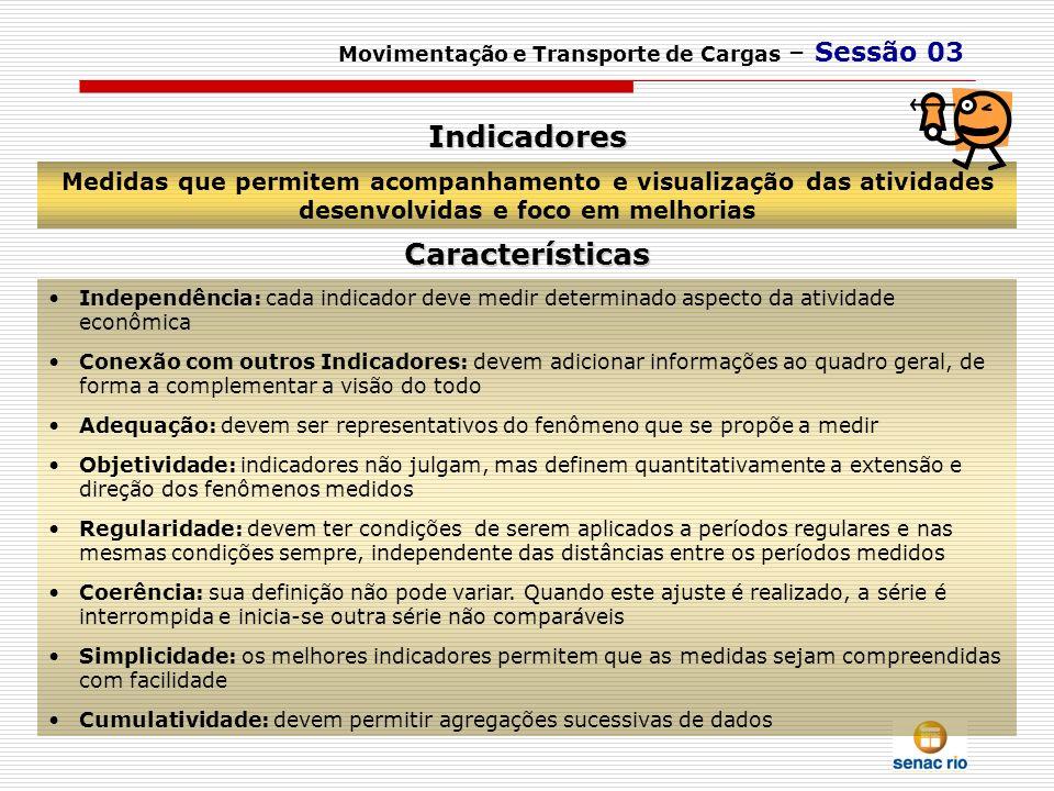Medidas que permitem acompanhamento e visualização das atividades desenvolvidas e foco em melhorias Movimentação e Transporte de Cargas – Sessão 03 In