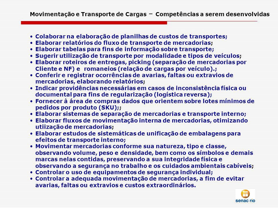 Movimentação e Transporte de Cargas – Competências a serem desenvolvidas Colaborar na elaboração de planilhas de custos de transportes; Elaborar relat
