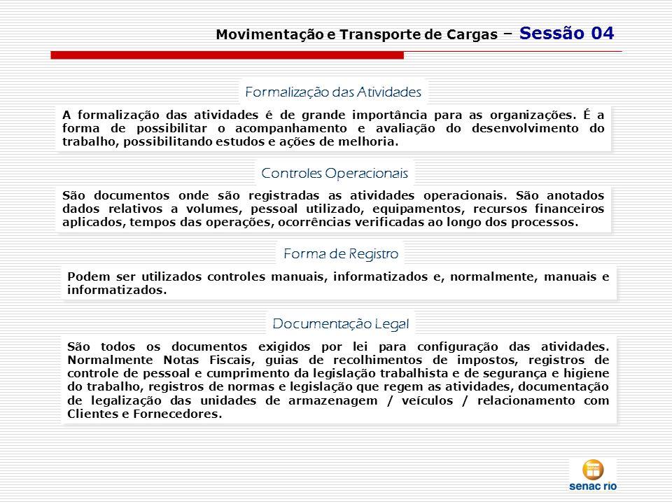 Movimentação e Transporte de Cargas – Sessão 04 A formalização das atividades é de grande importância para as organizações. É a forma de possibilitar