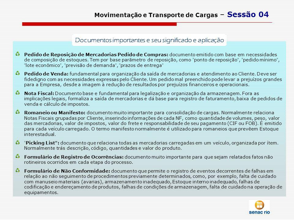 Movimentação e Transporte de Cargas – Sessão 04 Pedido de Reposição de Mercadorias Pedido de Compras: documento emitido com base em necessidades de co