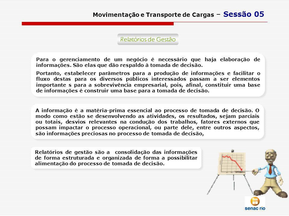 Movimentação e Transporte de Cargas – Sessão 05 Relatórios de Gestão Relatórios Gerenciais Para o gerenciamento de um negócio é necessário que haja el