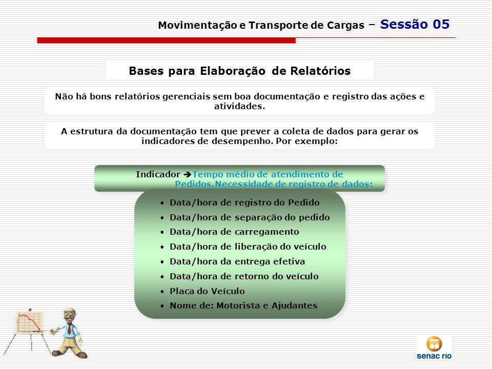 Movimentação e Transporte de Cargas – Sessão 05 Bases para Elaboração de Relatórios Não há bons relatórios gerenciais sem boa documentação e registro