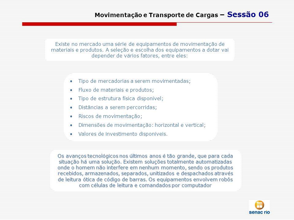 Movimentação e Transporte de Cargas – Sessão 06 Existe no mercado uma série de equipamentos de movimentação de materiais e produtos. A seleção e escol