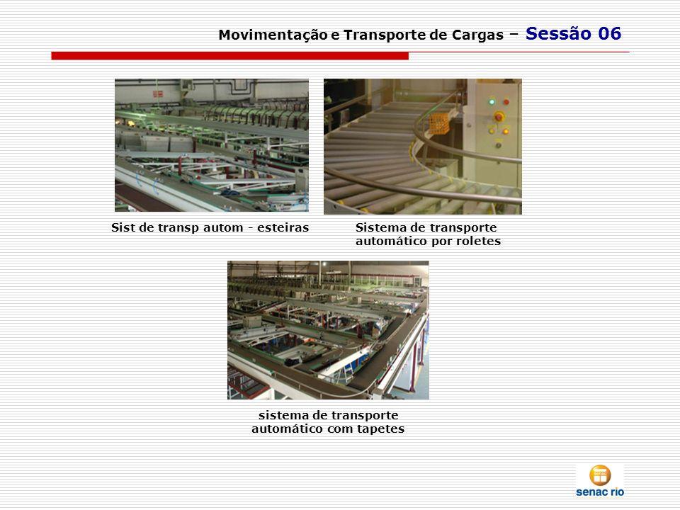 Movimentação e Transporte de Cargas – Sessão 06 Sist de transp autom - esteiras sistema de transporte automático com tapetes Sistema de transporte aut