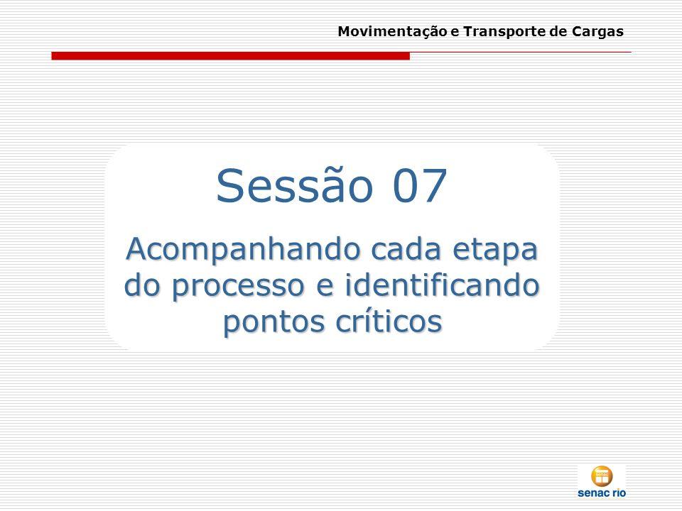 Movimentação e Transporte de Cargas Sessão 07 Acompanhando cada etapa do processo e identificando pontos críticos