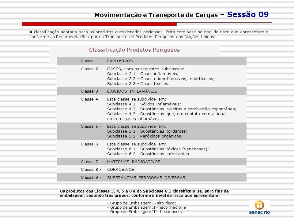 Movimentação e Transporte de Cargas – Sessão 09 A classificação adotada para os produtos considerados perigosos, feita com base no tipo de risco que a