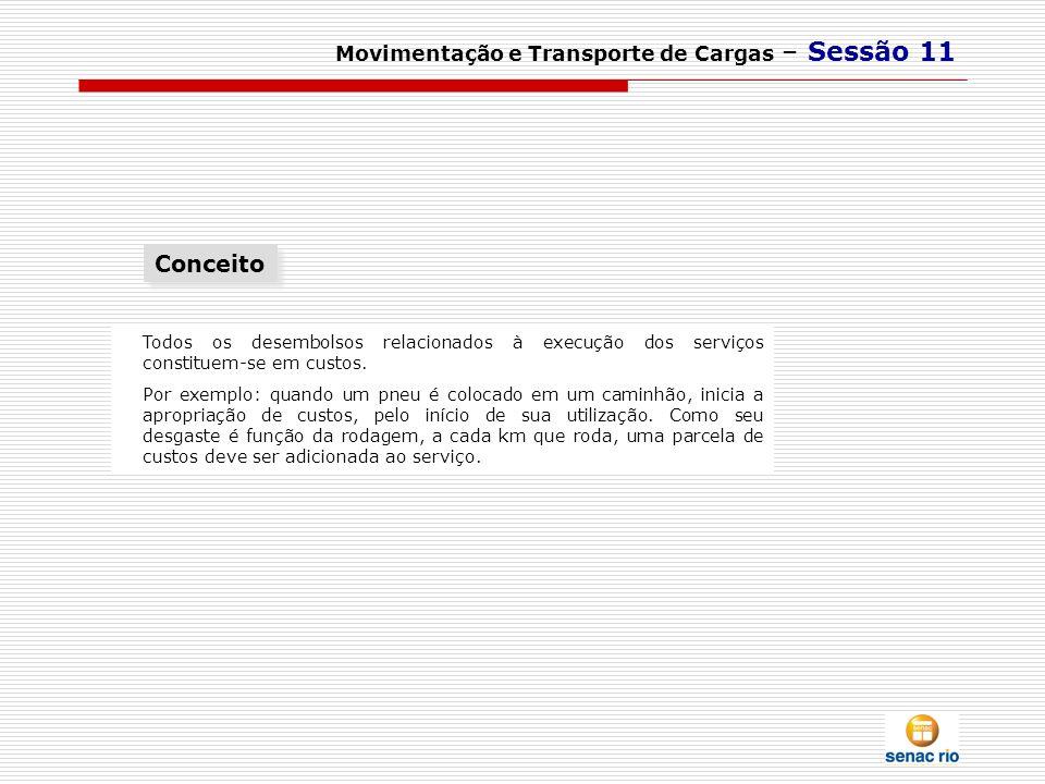 Movimentação e Transporte de Cargas – Sessão 11 Todos os desembolsos relacionados à execução dos serviços constituem-se em custos. Por exemplo: quando