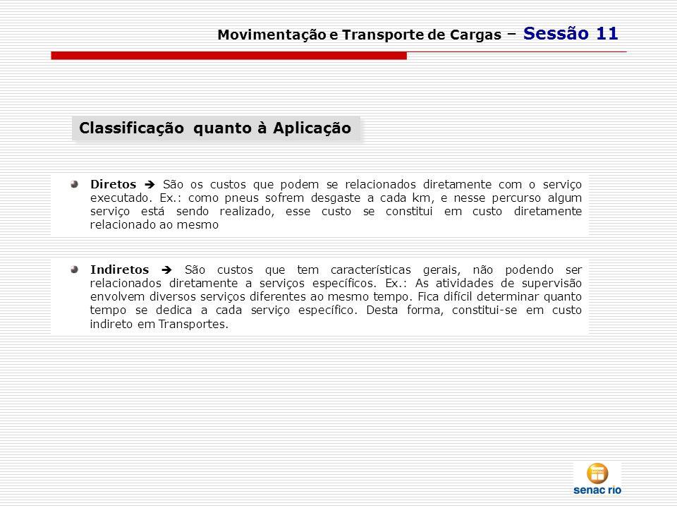 Movimentação e Transporte de Cargas – Sessão 11 Indiretos São custos que tem características gerais, não podendo ser relacionados diretamente a serviç