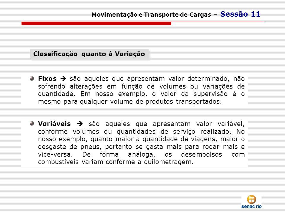 Movimentação e Transporte de Cargas – Sessão 11 Variáveis são aqueles que apresentam valor variável, conforme volumes ou quantidades de serviço realiz