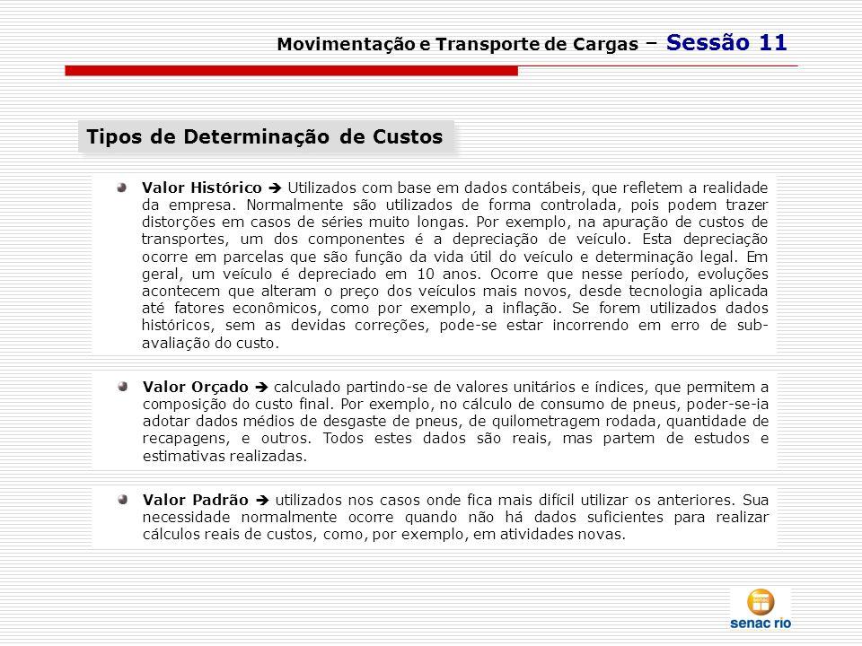 Movimentação e Transporte de Cargas – Sessão 11 Valor Orçado calculado partindo-se de valores unitários e índices, que permitem a composição do custo