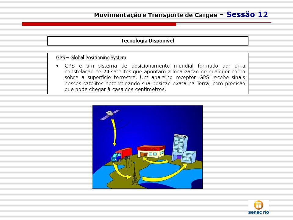 Movimentação e Transporte de Cargas – Sessão 12 Tecnologia Disponível GPS – Global Positioning System GPS é um sistema de posicionamento mundial forma